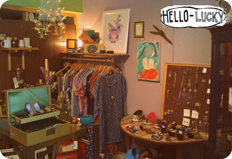 inside of hello lucky boutique in the heights handmade houston
