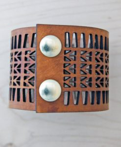 Laser Cut Leather Cuff by Curare Sweets | Leather Bracelets | Handmade in Texas