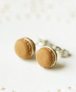 Chocolate Macaron Stud Earrings - Food Jewelry | Cute Earrings