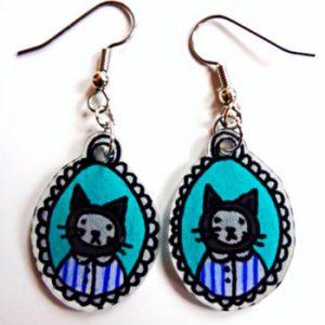 Hand Drawn Kitten Earrings | Etsy | Shrinky Dink Earrings