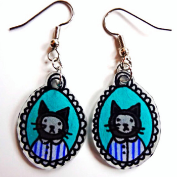 Hand Drawn Kitten Earrings | Etsy | Shrinky Dink Earrings