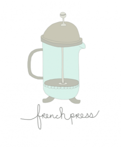 French Press Greeting Card Handmade Cards by Hazelmade