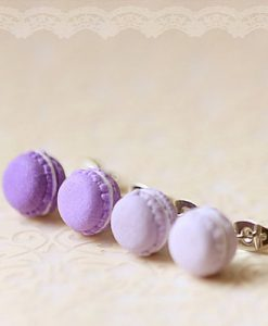 Purple Macaron Stud Earrings Kawaii Jewelry at Pop Shop America Handmade Boutique