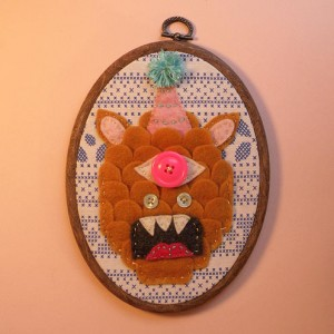 Art by Kristen M. Liu, Embroidery Art from the Pop Shop America Art Blog