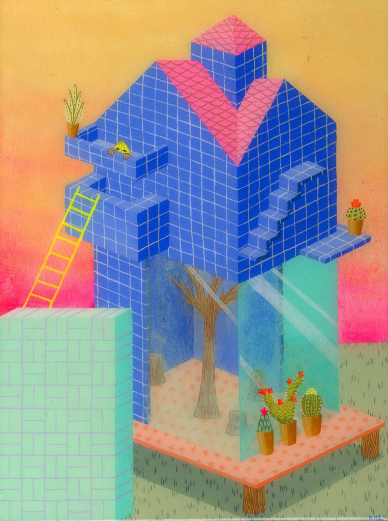 Geometric House Neon Illustration by Kristen M. Liu on the Pop Shop America Art Magazine