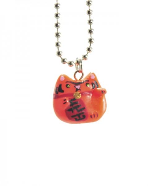 Orange Lucky Cat Necklace