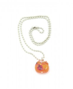 Orange Lucky Cat Necklace