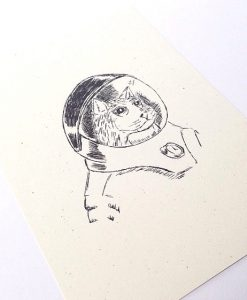 Astronaut Kitty Print Unframed