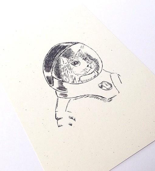 Astronaut Kitty Print Unframed