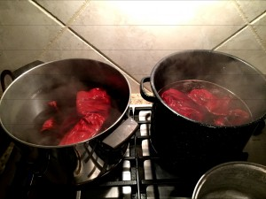 Despite adding blue, both batches were decidedly red.