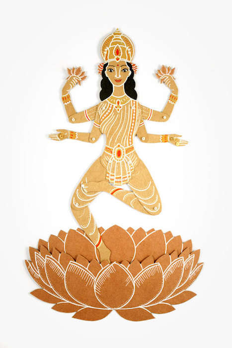 MD Paper Dolls | God with Lotus Paper Sculpture by Maria Dubrovskaya