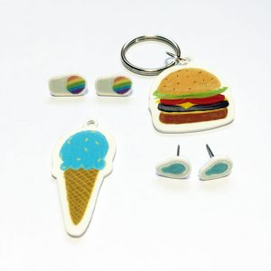 summer-shrinky-dinks-free-printables | how to make snow cone earrings burger necklaces and more summer accessories