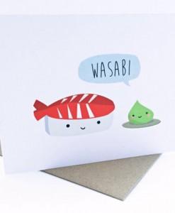 wasabi and sushi card | handmade greeting cards | kawaii style cards | handmade by le trango