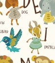 detail of alphabet art print | detail of animals holding letters | art for kids | learn the alphabet art at Pop Shop America