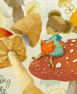 detail of mouse on mushroom in sabine reinhart print | mouse reading art print | Shop Art and Prints at Pop Shop America online shop