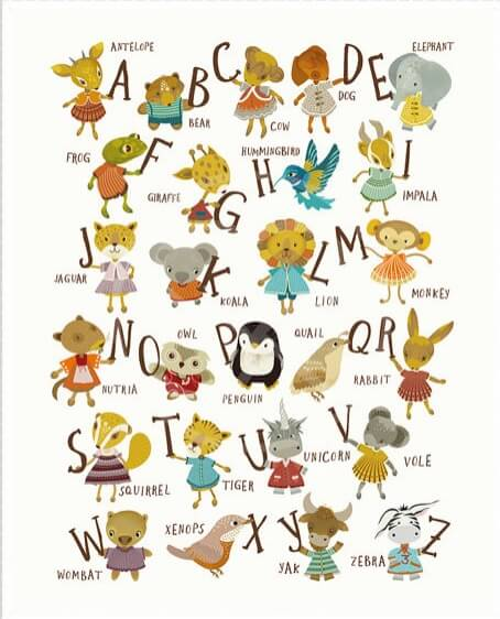 full alphabet kids art print nursery prints   alphabet art with cute animals   Shop Handmade Nursery Items   Shop Handmade Kids at Pop Shop America