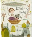 hot air balloon art print | Girl and Mouse Explore the World | art detail