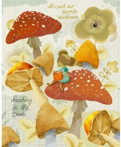 mushroom mouse art print by sabine reinhart | let's pick our favorite mushroom | Reading in the woods | Art prints with mushroom available at Pop Shop America