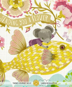sending you a flower flying fish art print | mouse riding a fish | yellow fish art print | shop art at Pop Shop America