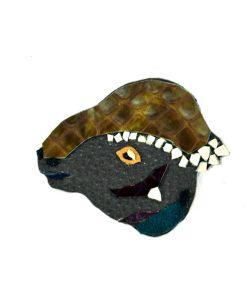 ankylosaurus-handmade-dino-brooch-1 | Ankylosaurus Dinosaur Brooch in Leather