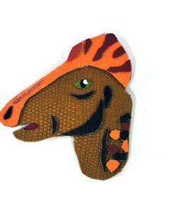 corythosaurus-dinosaur-brooch-1 | Leather Dinosaur Brooch by Jason Villegas