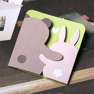 handmade greeting card - bear and bunny greeting card pop shop america