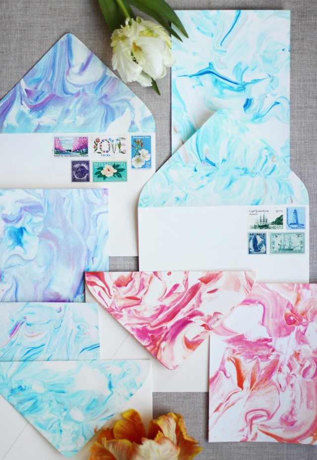 marbled stationery diy