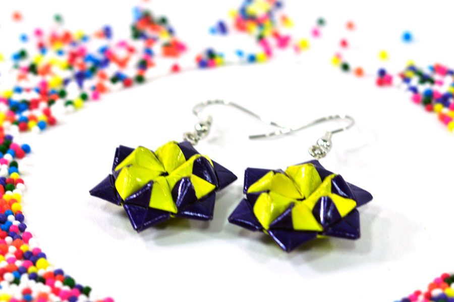 purple-and-yellow-origami-star-earrings