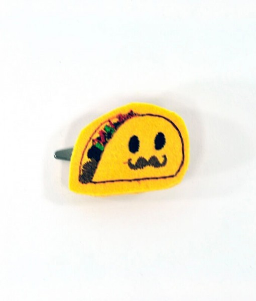 taco with mustache barrette 1 | Handmade Anime Barrettes Shop Local for Cool Fashion