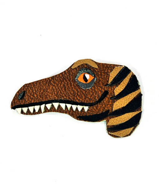 velociraptor-dinosaur-brooch-by-jason-villegas-1 Handmade Leather Accessories | Dino Jewelry at Pop Shop America Handmade Boutique