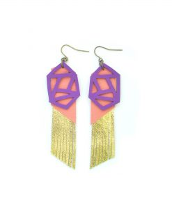 Fringe_Leather_Earrings__Geometric_Earrings__Gold_Metallic_Earrings__Purple_and_Peach_Earrings