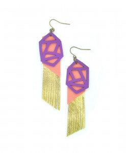 Fringe_Leather_Earrings__Geometric_Earrings__Gold_Metallic_Earrings__Purple_and_Peach_Earrings_2