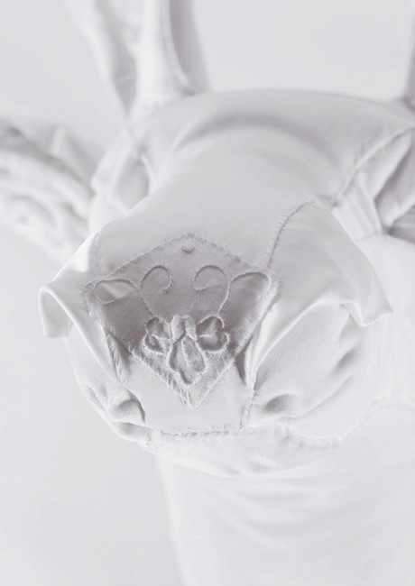 Detail of All White Fabric Deer Head | Beautiful Art of Deer by Lauren Porter UK