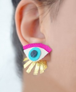 Neon_Eye_Ear_Jacket_Earring__Seeing_Eye_Geometric_Earrings__Illuminati_Jewelry__Hot_Pink_and_Gold_Earrings