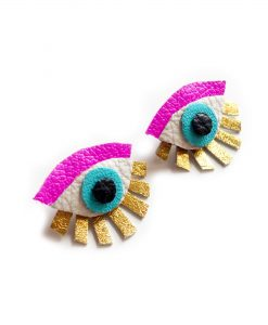Neon_Eye_Ear_Jacket_Earring__Seeing_Eye_Geometric_Earrings__Illuminati_Jewelry__Hot_Pink_and_Gold_Earrings_3