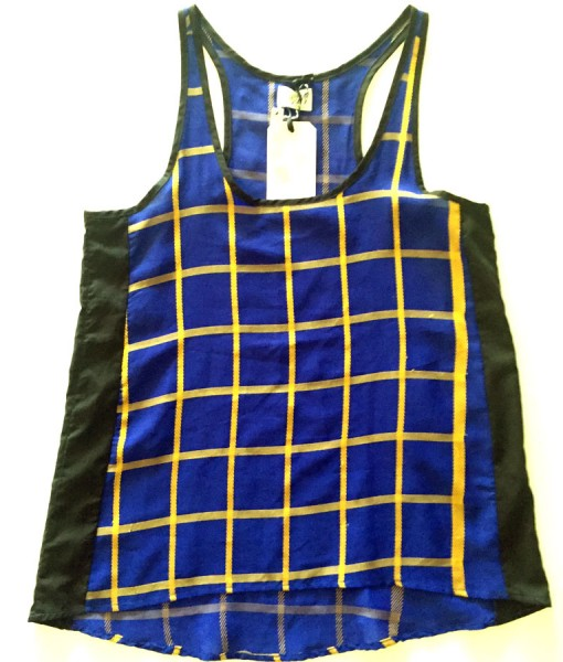 blue and yellow plaid rickshaw tank top