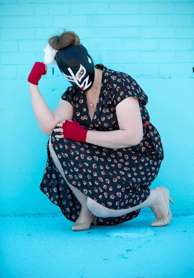 crouching lady luchador wrestling fashion photos