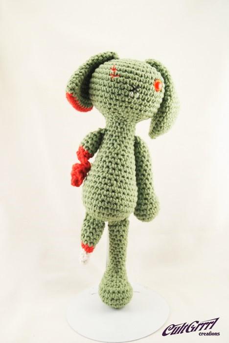 Legless Bunny Crochet Art by Cultgrrrl Creations Houston TX