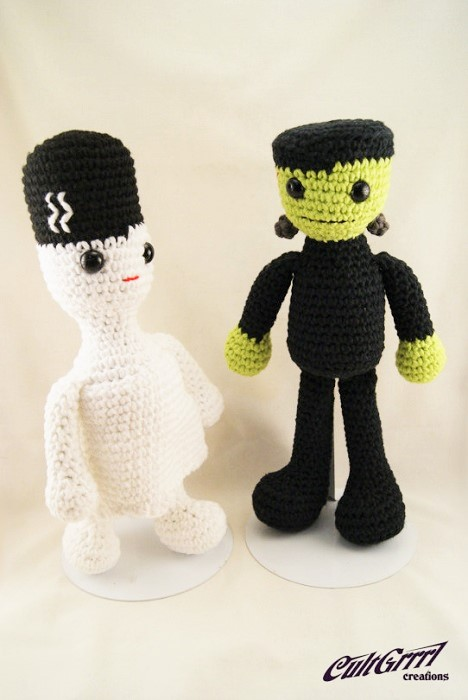 cultgrrrl frankenstein and mummy crochet dolls