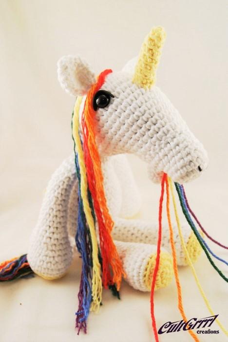 Barfing Unicorn Rainbow Unicorn Crochet Art by Cultgrrl Creations
