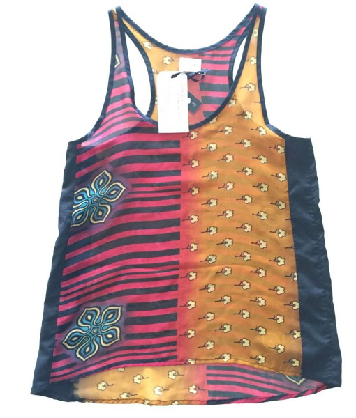 cute stripes and florals rickshaw tank front view