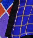 detail of blue and yellow plaid rickshaw tank top