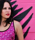 michelle wearing hot pink floral rickshaw tank front