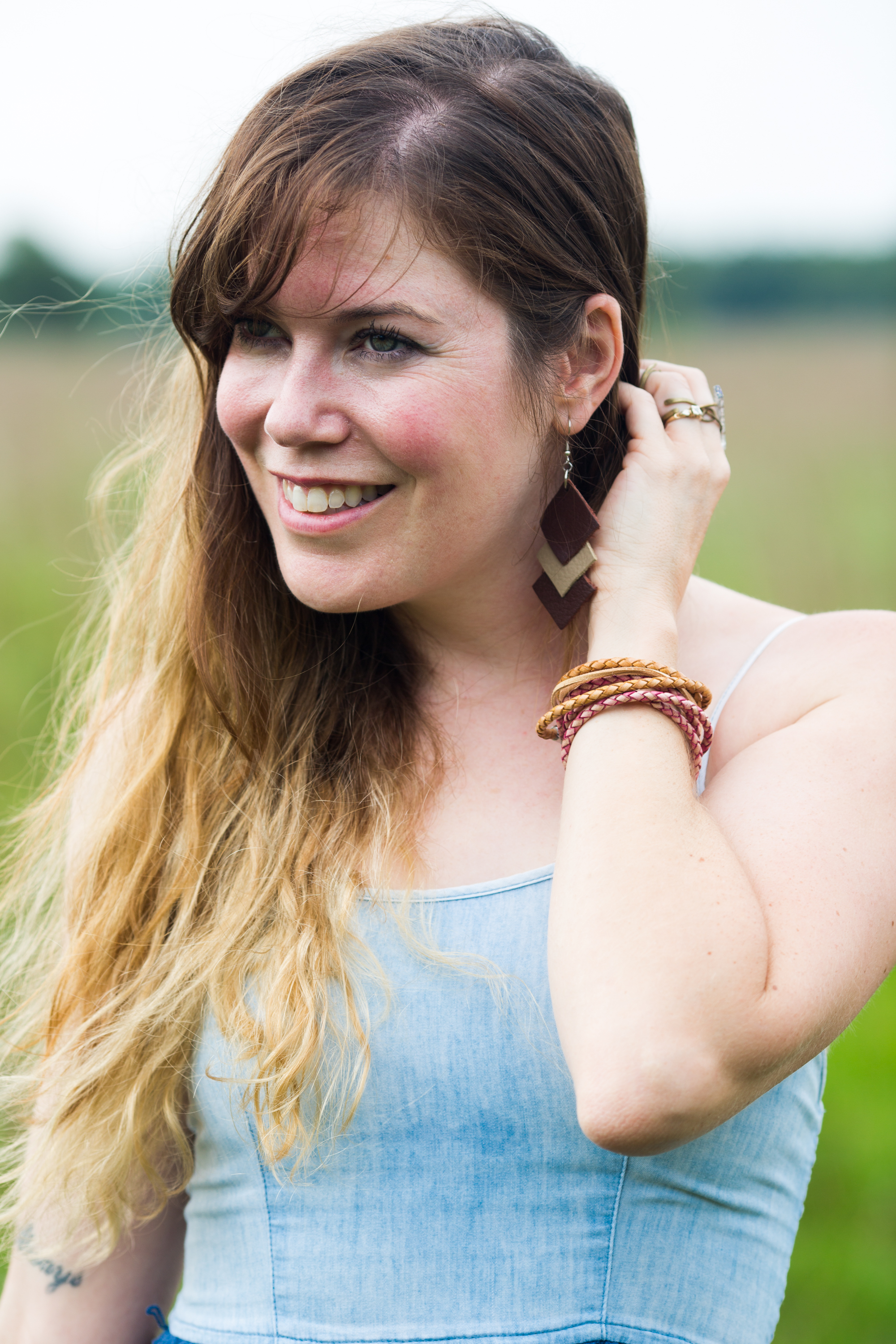 how to make an easy leather boho bracelet final