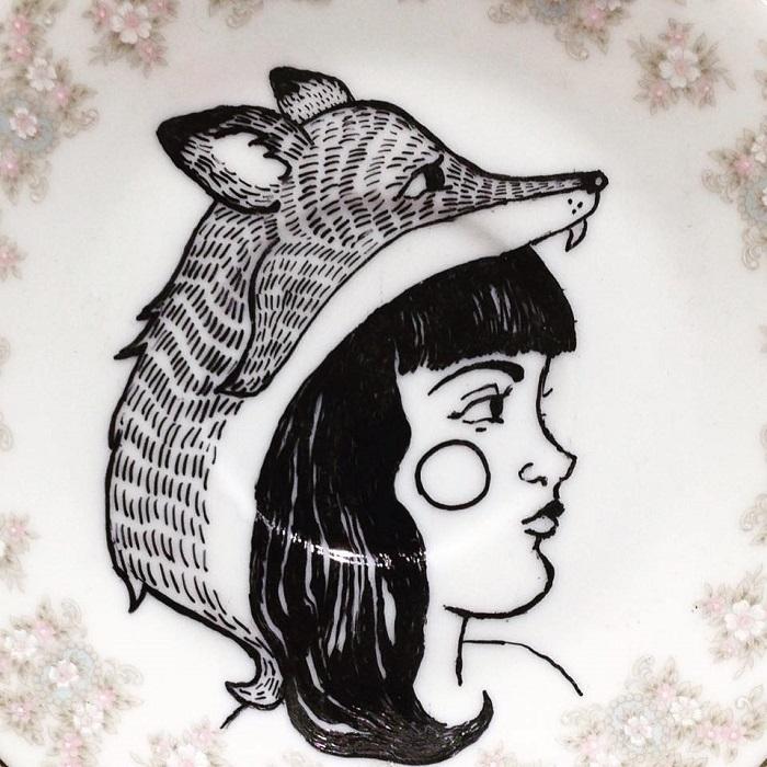 Detail of Girl wearing Fox Mask Painting handmade ceramic plate paintings