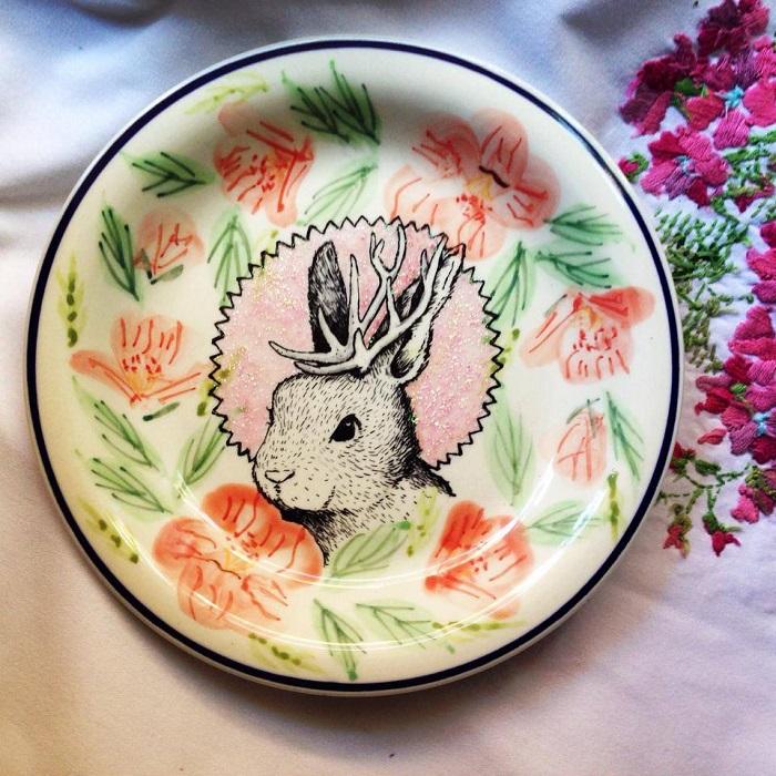 Jackelope Bunny Painting on Ceramic Plate Art by Kelly Kielsmeier