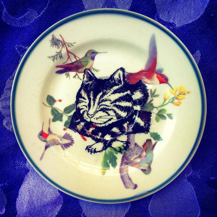 Kelly Kielsmeier Art ceramic plate painting of birds and cat handmade