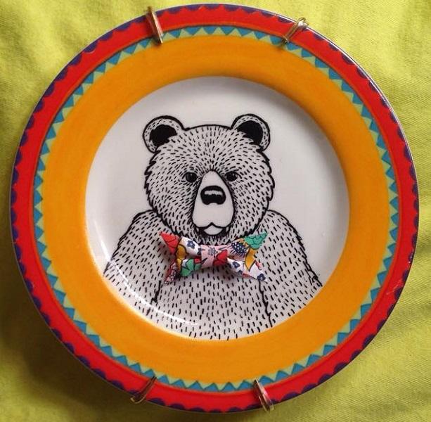 Kelly Kielsmeier Handmade Bear Ceramic Art Art on Plates Houston Handmade