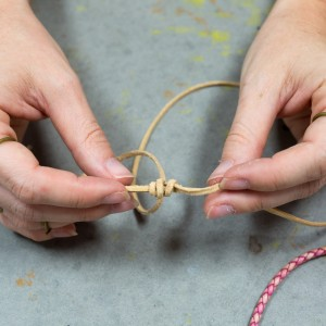 step 5 how to tie a leather knot how to make a leather bracelet