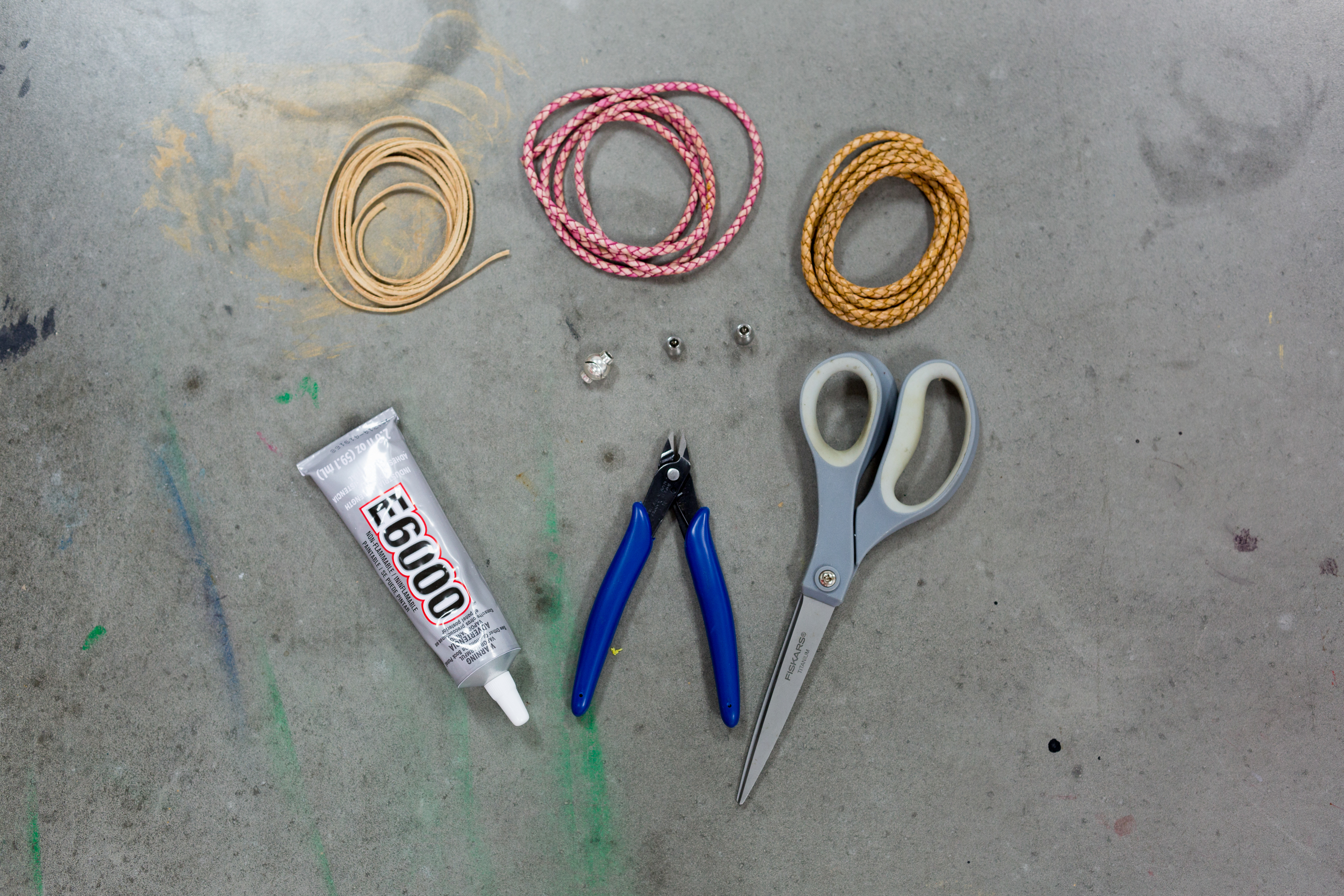 supplies to make a boho leather bracelet